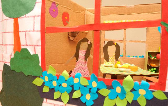 Paper dolls house window