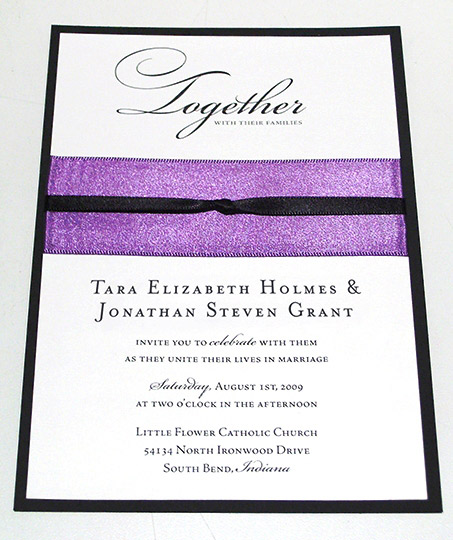 Satin ribbon wedding invitations