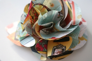 Paper flower brooch
