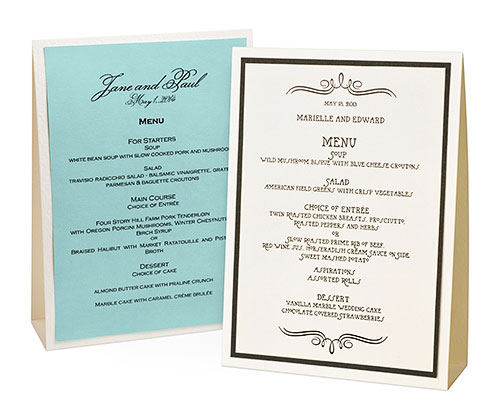 Wedding menu table tent
