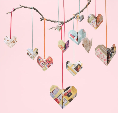 Origami Hearts From Recycled Catalogs