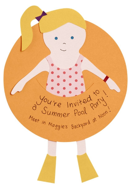 Paper doll pool party invitation