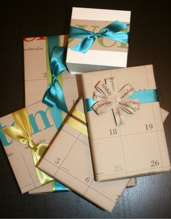 Gifts wrapped with old calendar pages