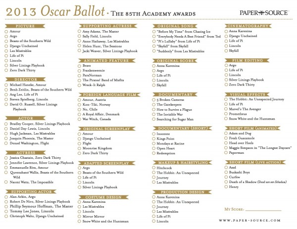 2013 Oscars Ballot