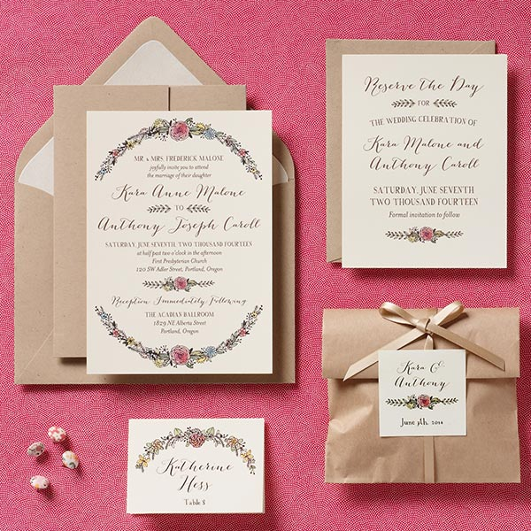 Paper source 2013 wedding invitation collection the watercolor laurel frame wedding invitations solutioingenieria Choice Image