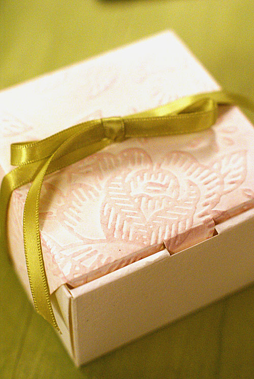 embossed favor box
