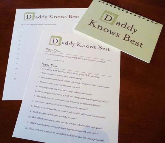 A baby shower game honoring dad paper source blog for Baby shower game booklet template