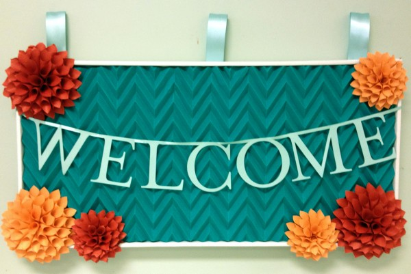 A Welcome Sign With Chevron Detail Paper Source Blog