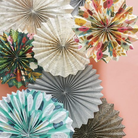 Party Rosettes made of fine paper and wrapping paper