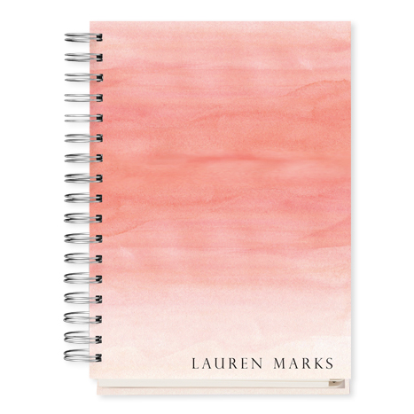 personalized datebook with faded pink design