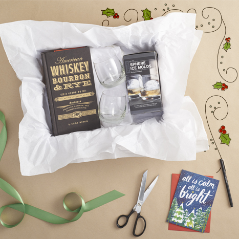 A fantastic gift box for a whisky lover from Paper Source.