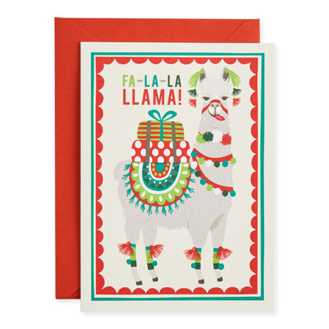 greeting card with a llama on the cover