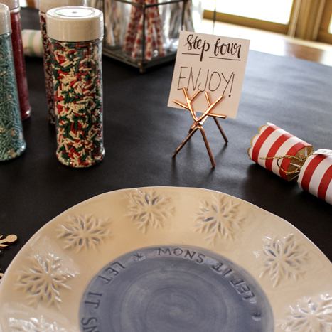 Place a table runner down before decorating your cookies to make clean up a breeze.