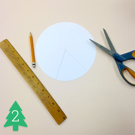 Draw two lines outward from the center to form a triangle