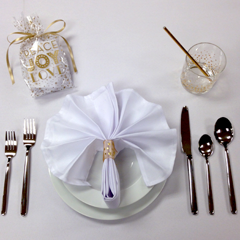 Gold themed holiday place setting