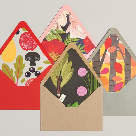 envelopes lined with old calendar art