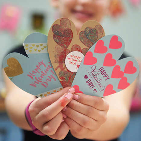 three hand made heart shaped valentines