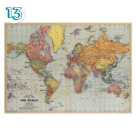 Cavallini World Map Wrapping Paper