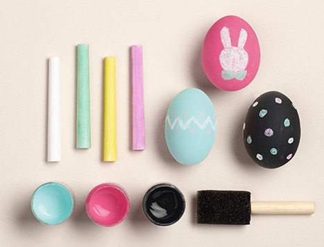 Easter eggs decorated with chalk