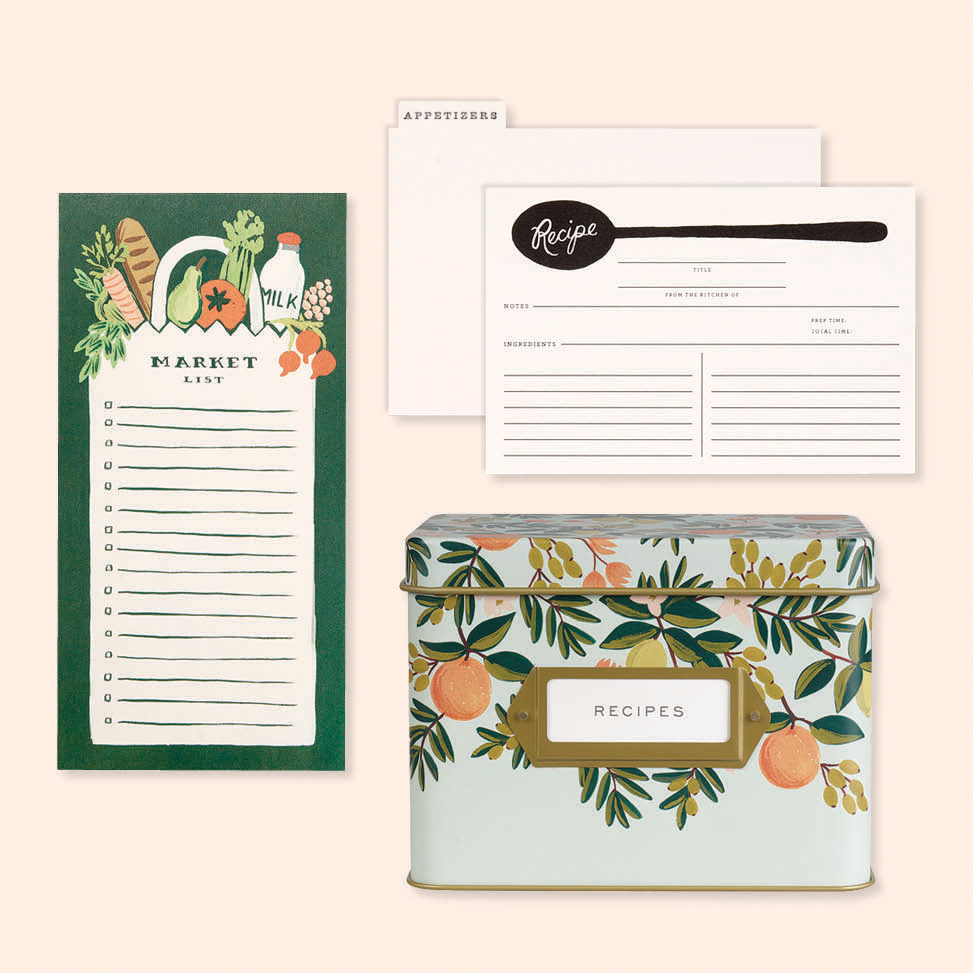 grocery list, recipe cards, and recipe card box by Rifle Paper Co.