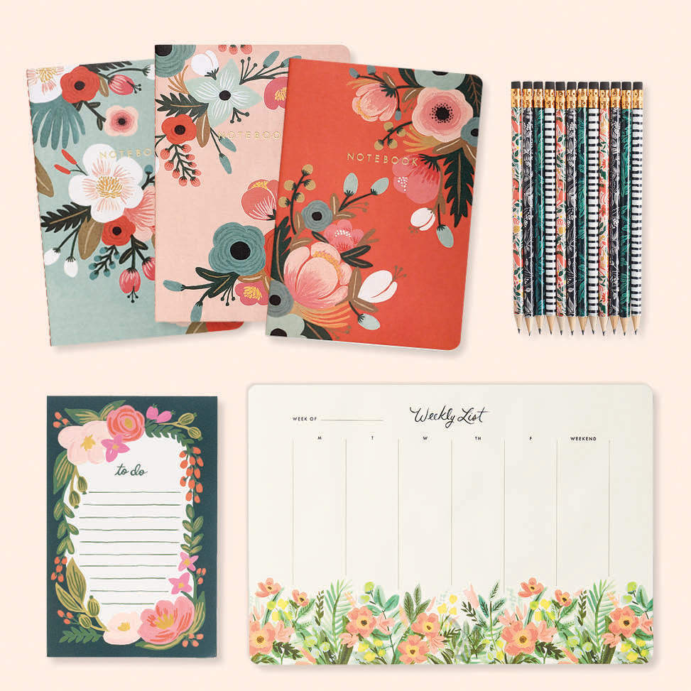 floral print cards, pencils, notes, and weekly task list by Rifle Paper Co.