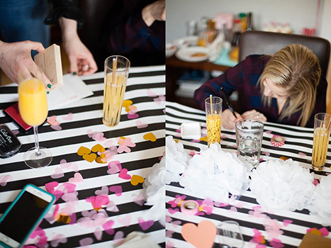 making Valentine's Day Cards with cocktails on the table