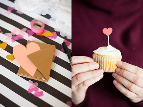 blank heart shaped card with a gold envelope and a close up of a valentine's day cupcke