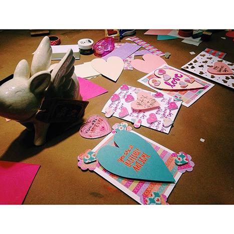 hand made valentines mid creation