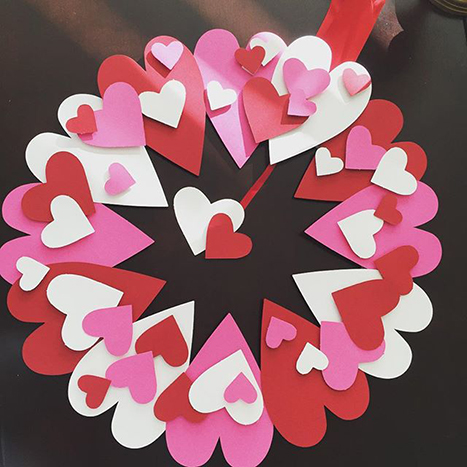 a paper heart wreath