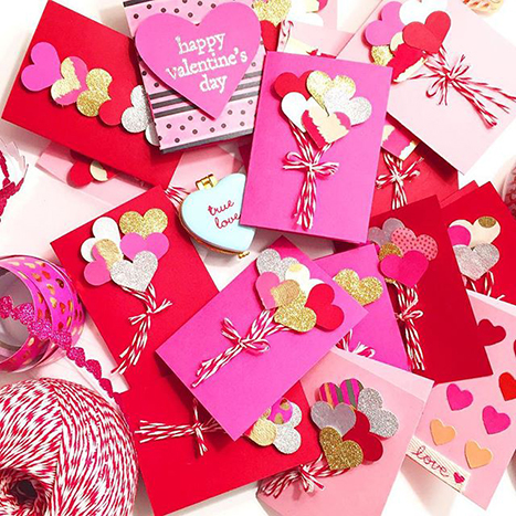 a pile f valentines