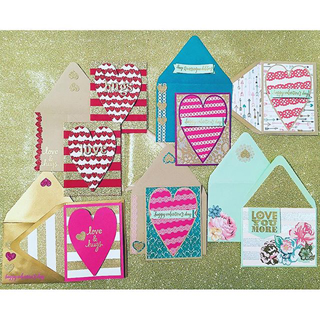 Valentines cards featuring glitter wrap