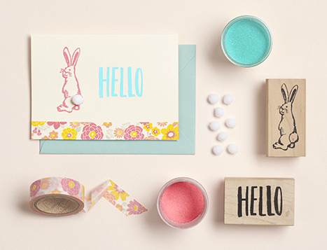 hand made hello bunny card