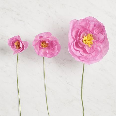 three paper flowers