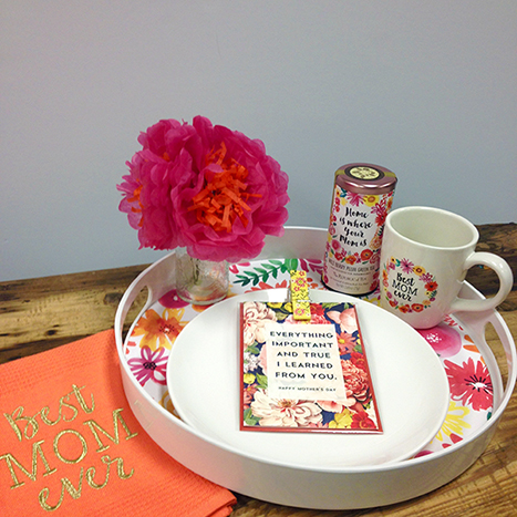 tea tray with a mother's day card and decorations