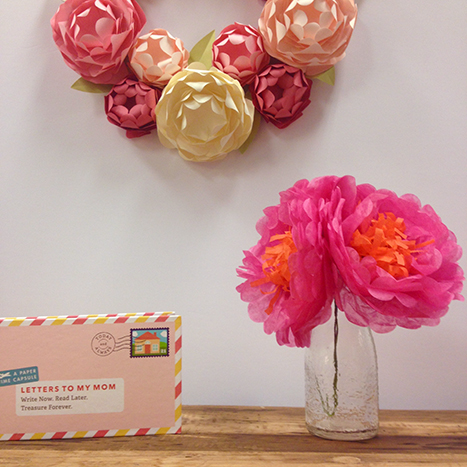 paper flowers, wreath, and letters to mom