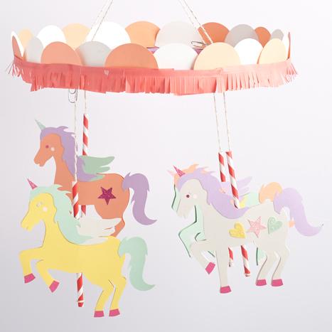coral fringe tape on unicorn carousel