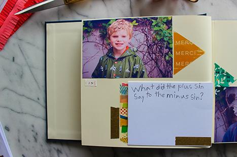child's photograph and hand written joke