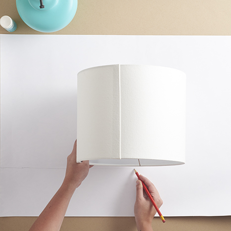 tracing a lampshade on a piece of paper