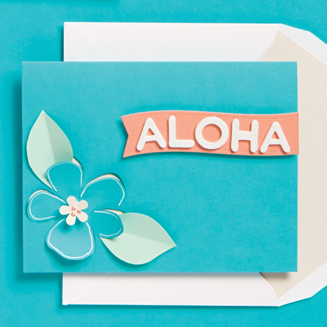 card with aloha and a flower on it