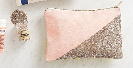 pink canvas pouch with gold glitter