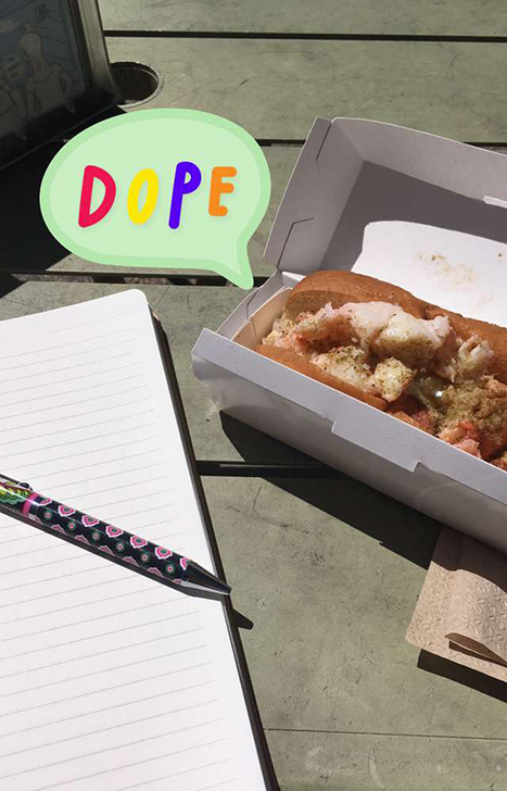 a lobster roll and a notebook