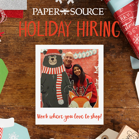 holiday hiring polaroid on wood background