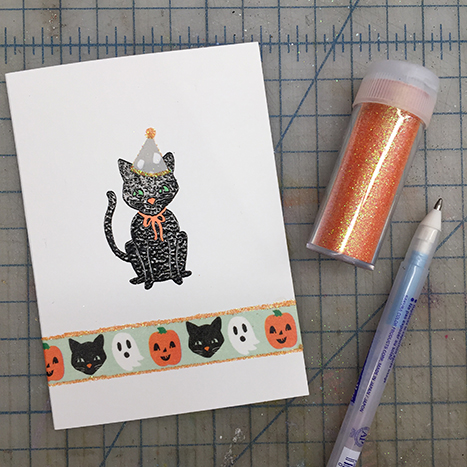 halloween glitter and washi tape
