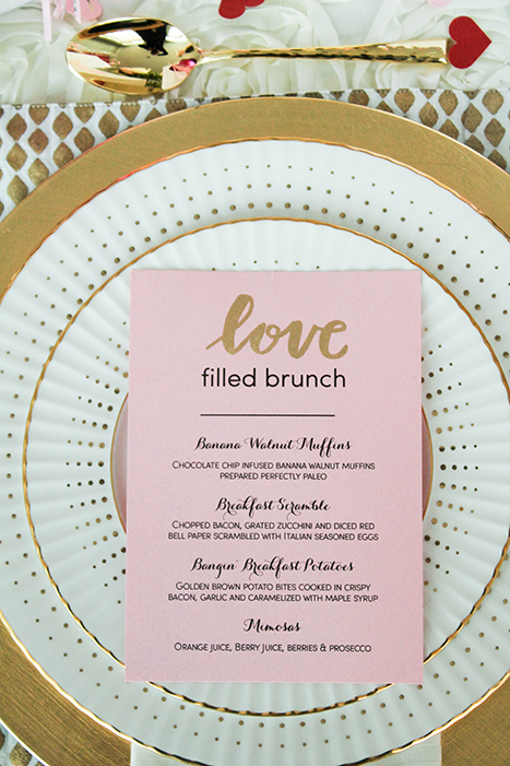 DIY brunch menu for Valentine's Day