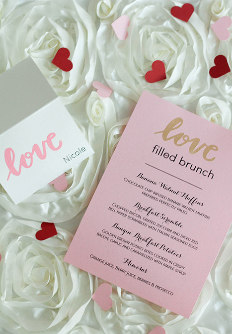 brunch menu with placecard for brunch