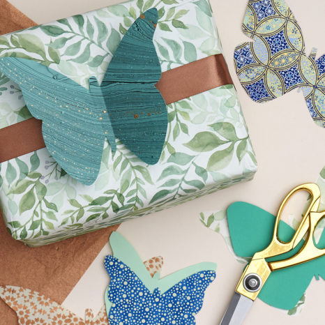 DIY Paper Butterflies on a wrapped gift