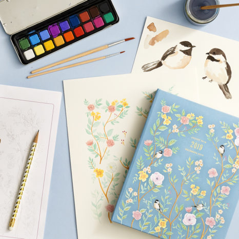 Illustrations of a bird on a planner