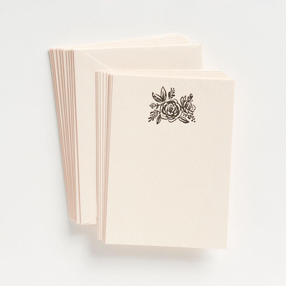 Slate Floral Letterpress Stationery