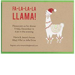 Holiday Llama Invitation