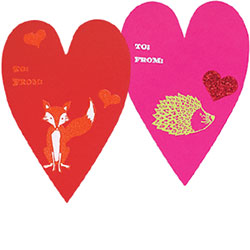 Heart Card Critter Valentines